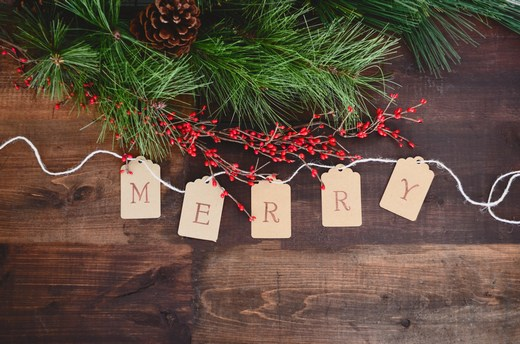 'MERRY' letters on a string under small Christmas decor