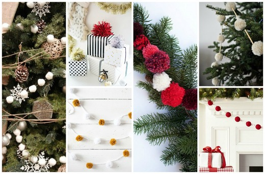 Christmas tree pom-pom decorations