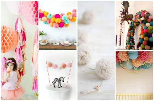 Colourful pom-pom ornaments