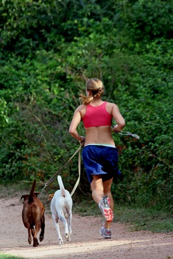A woman running with two dogs