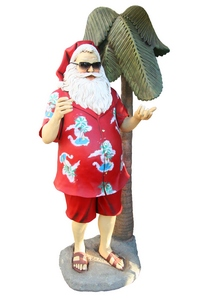 Santa Claus in tropical attire