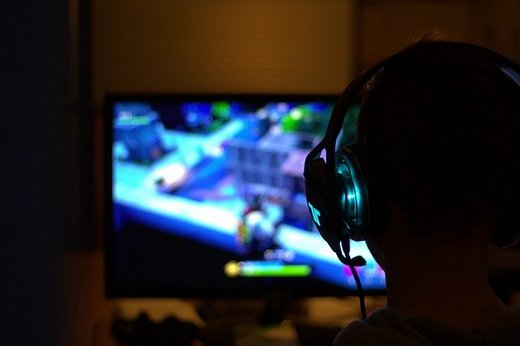 A boy playing PC games.