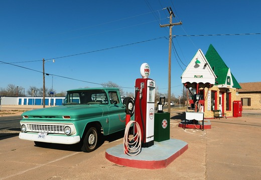 Vintage Chevrolet at a gas station