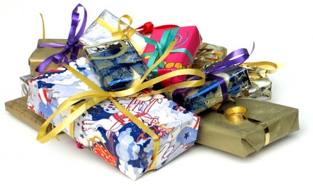 A pile of colourful wrapped up gifts